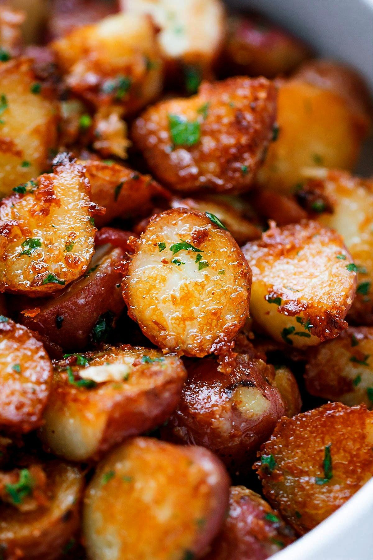 Garlic Butter Parmesan Potatoes Recipe - - These epic roasted potatoes with garlic butter parmesan