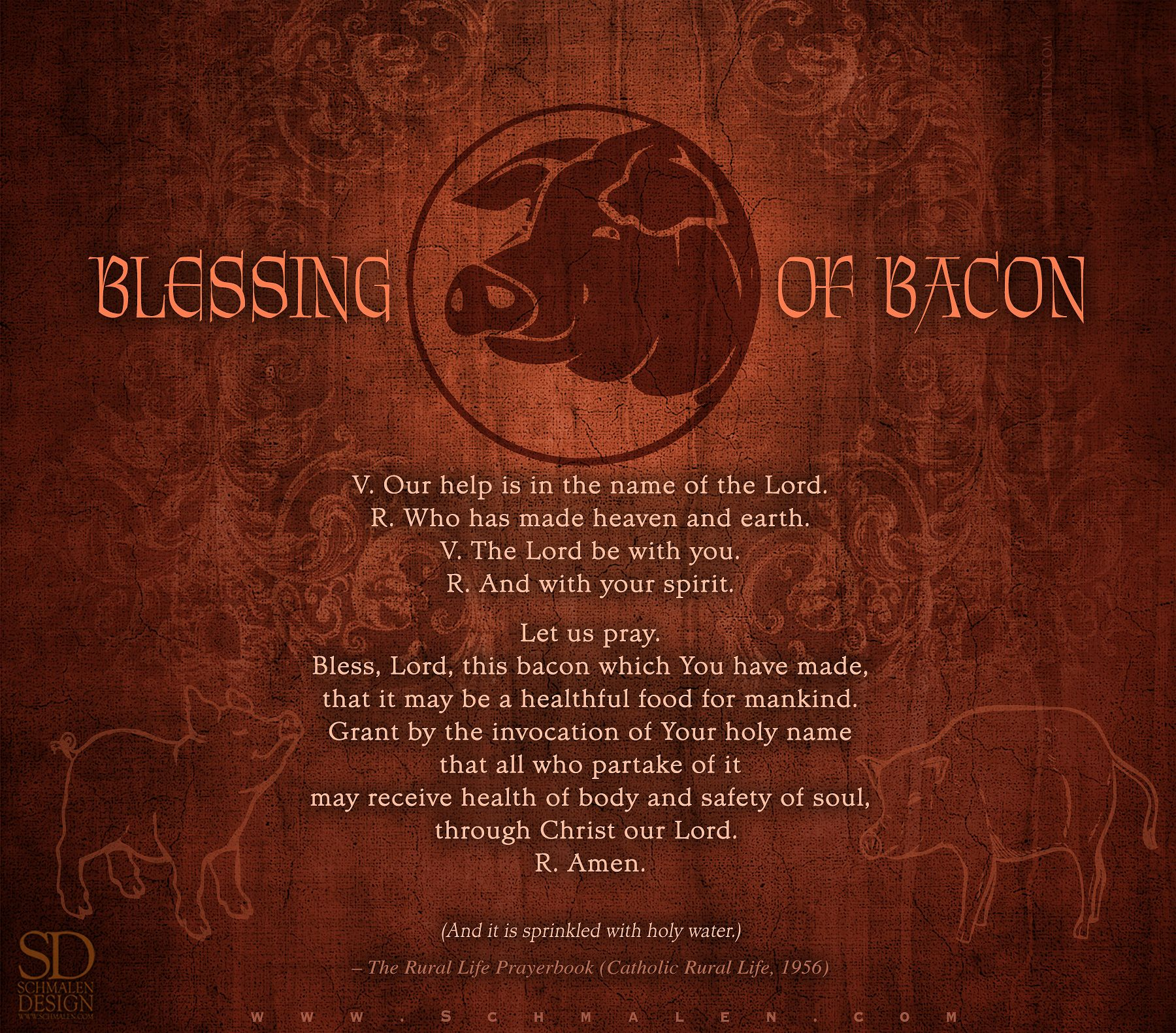 Blessing of Bacon.You can use this for any food. Just replace the word bacon! <3