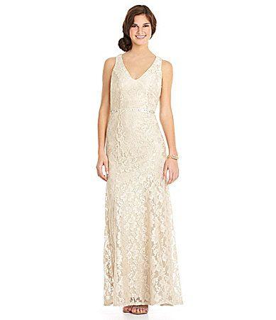 B. Darlin V-Neck Lace Gown | Dillards.com in navy blue | wedding ...