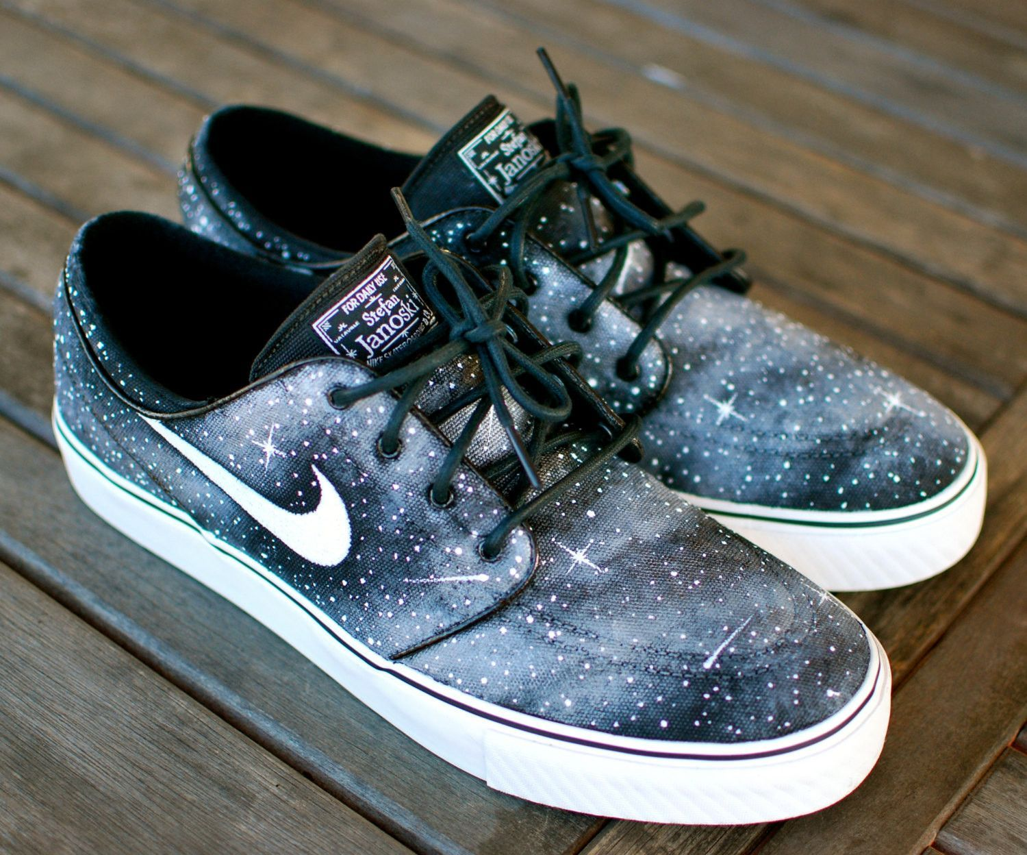 Custom Hand Painted Twilight Zone Black and White Galaxy Nike Stefan Janoski  Skate Shoes 56b175a2b