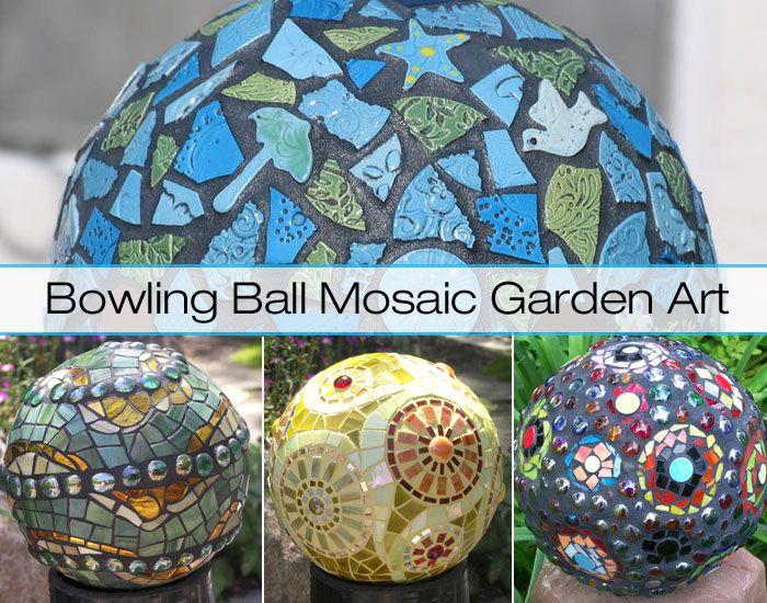 Recycle Bowling Balls Into Mosaic Garden Art