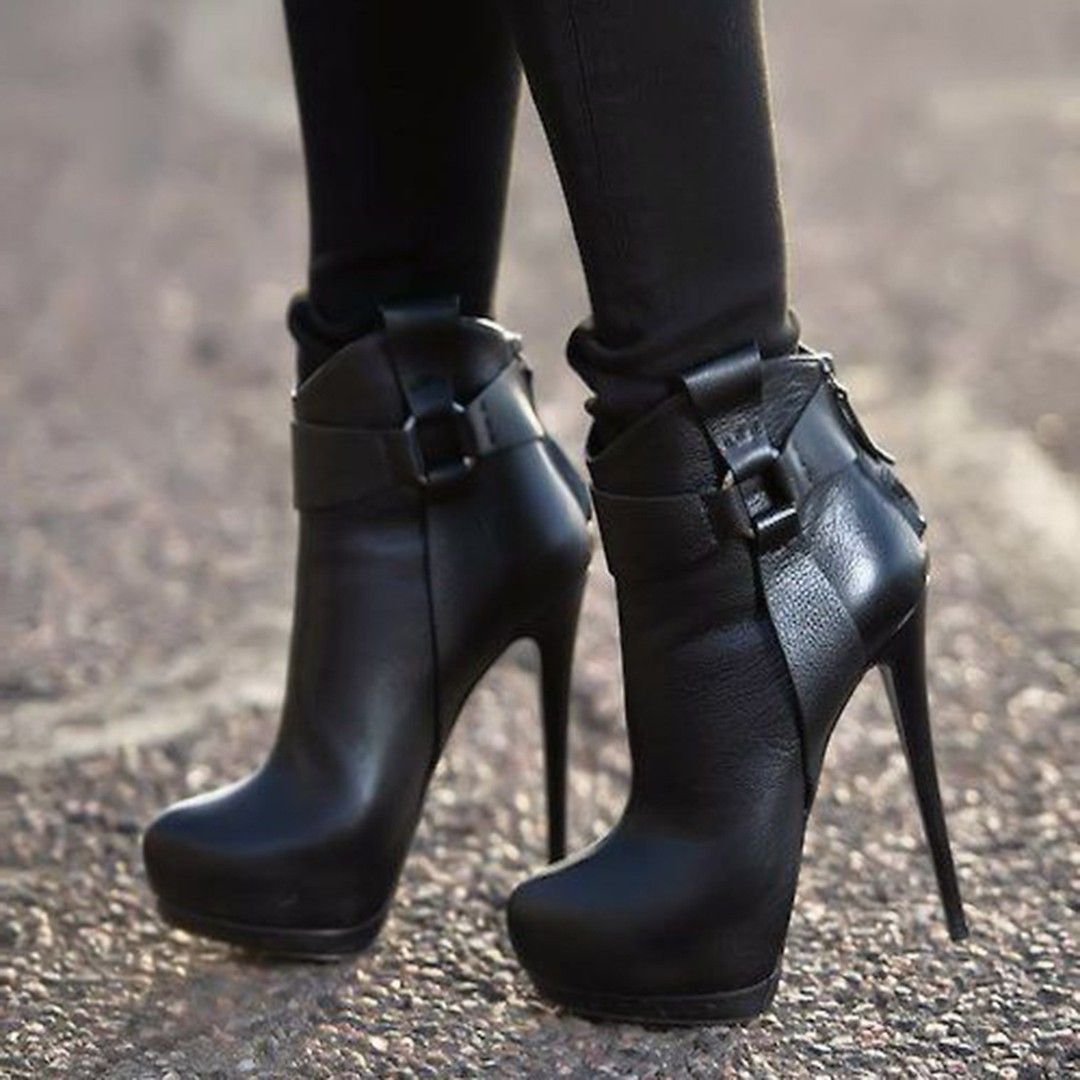 black patchwork buckle high heel ankle boots