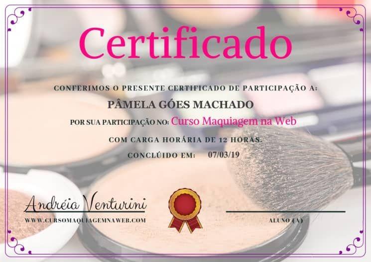 Resultado de imagem para certificado Curso Maquiagem na Web