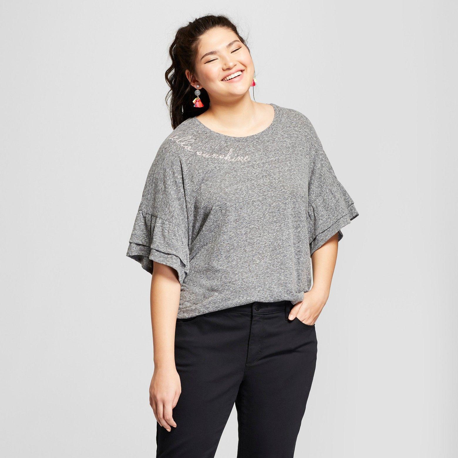 3f38112a8c24a Women s Plus Size Hello Sunshine Short Ruffle Sleeve Embroidered T-Shirt - Grayson  Threads (Juniors ) Gray   Target
