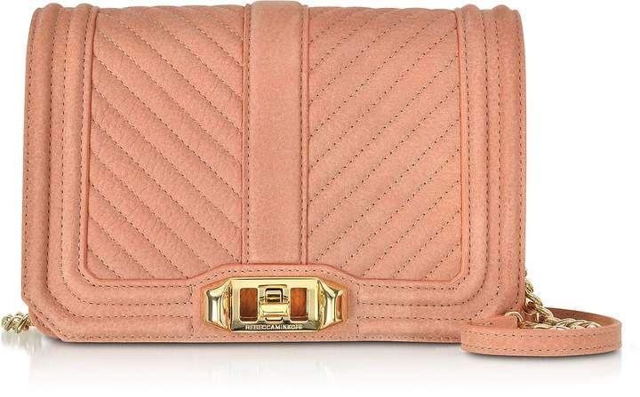 488774fa87e6f Rebecca Minkoff Small Dusty Peach Quilted Leather Love Crossbody Bag ...