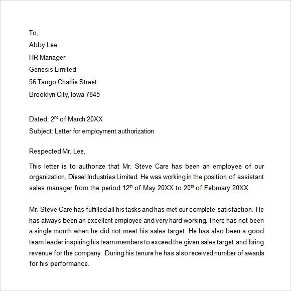 Sample Proof Employment Letter Download Free Documents Pdf Work