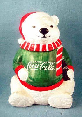 Coke Coca-Cola Bear w/Sweater Cookie Jar
