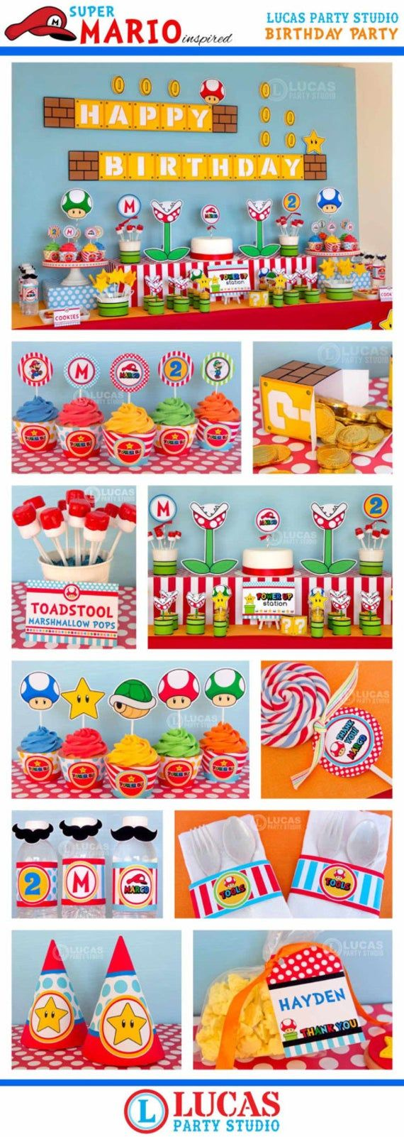 Super Mario Inspired Birthday Decorations – Personalised Printables – Mario cart party decorations, super mario party, 1st birthday party