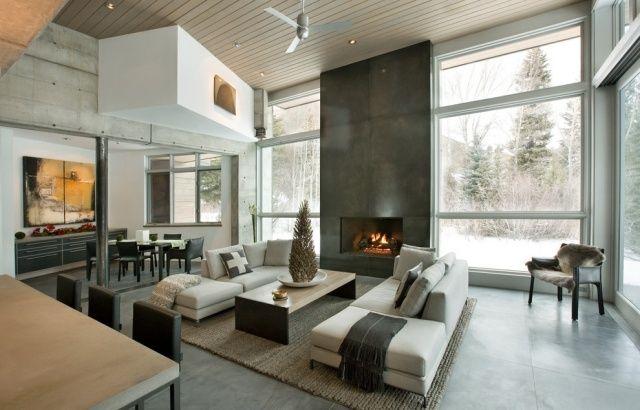 Tipps Zum Wohnzimmer Gestalten Gemauerter Kamin Aus Beton Raumhohe Fenster
