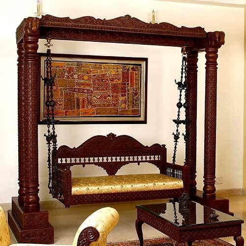 Exporter Of Carved Teakwood Ethnic Indian Swings   Carved Indian Swings,  Carved Swing Offered By Ethnic Kraft, New Delhi, Delhi