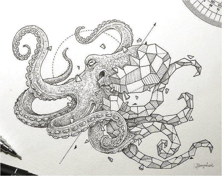 nice Tattoo Trends - Geometric octopus tattoo design � Visit artskillus.ru for more tattoo ideas... #ModernTattooDesigns Click to see more.