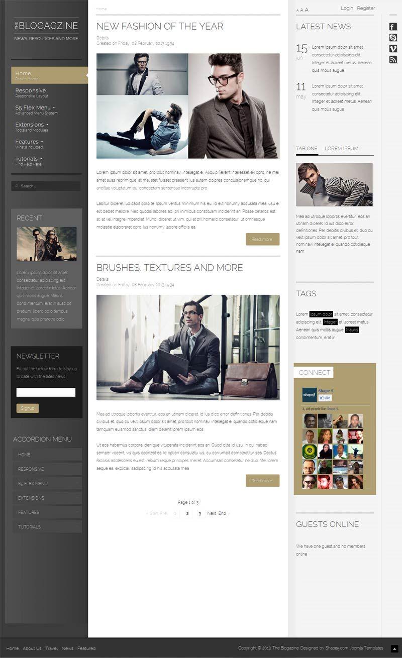 The Blogazine Responsive Joomla Magazine Template - | Premium Joomla ...