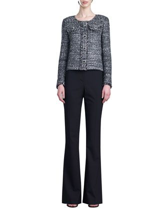 Tweed Knit Jacket, Stretch Silk Crepe de Chine Shell & Annabel Narrow Boot-Cut Pants by St. John Collection at Neiman Marcus.