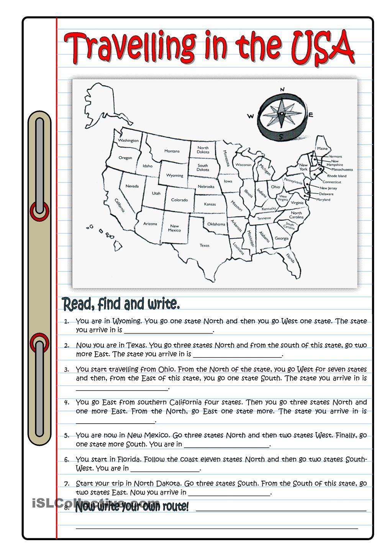 TRAVELLING IN THE USA | ESL 2 | Pinterest | Englisch, Schule und ...