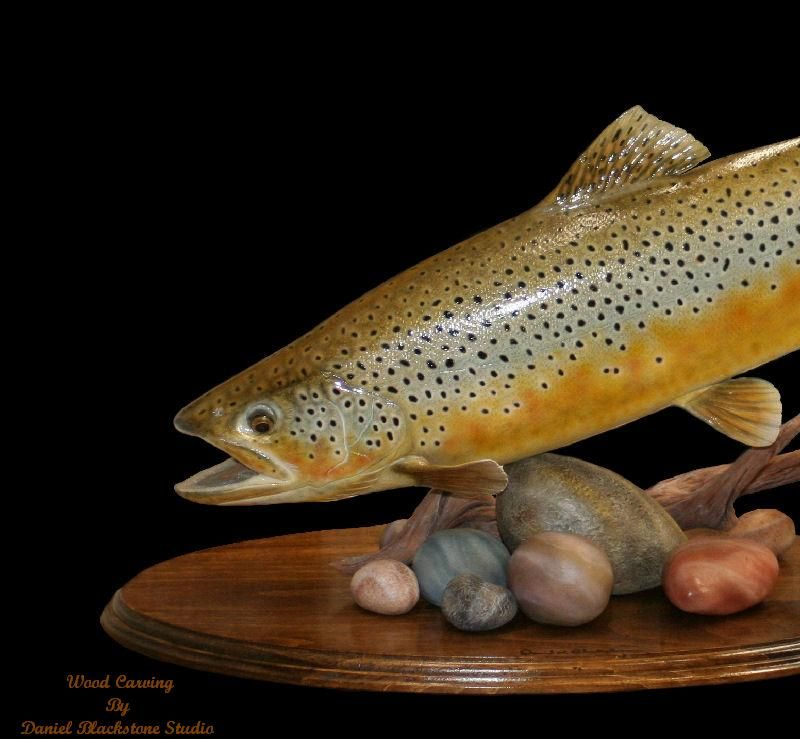 Trout fish wood carving woodworking
