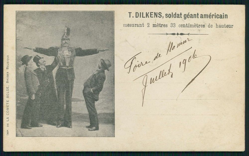 Circus Freal Tall man Giant American Soldier DILKENS original old 1900s postcard
