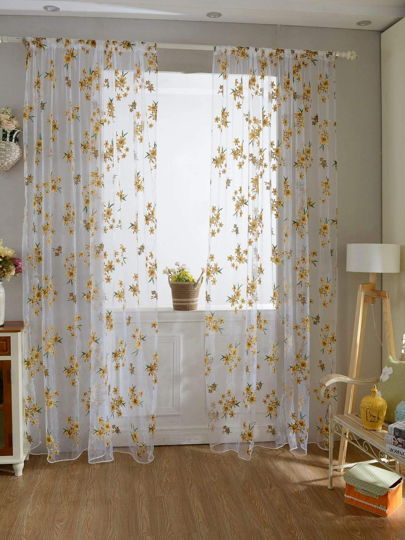 Flower Print Rod Pocket Sheer Curtain 1pc in 2020 Floral