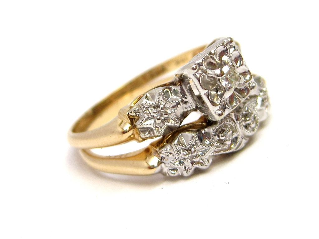 vintage wedding ring sets s Diamond 14K Gold Engagement Ring Wedding Band SET w original box