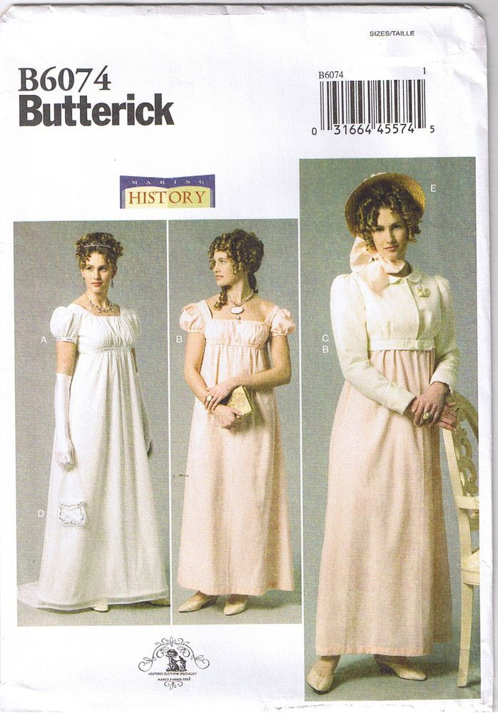 42bd2277b4 Regency Empire Wedding Dress Gown Jane Austen Costume Pattern Size 6 8 10  12 14  Butterick  Misses