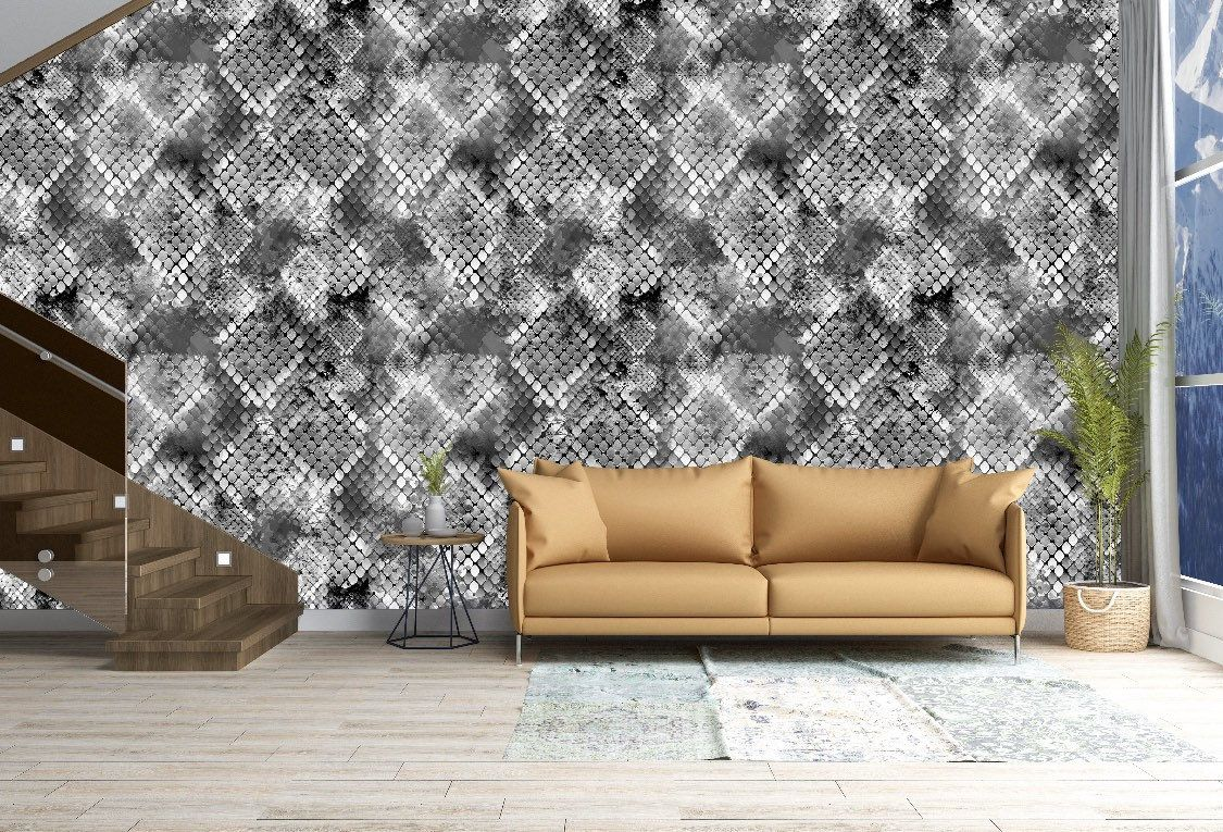 Removable Peel And Stick Wallpaper Silver Gray Snake Skin Etsy Peel And Stick Wallpaper Vinyl Wallpaper Home Wallpaper