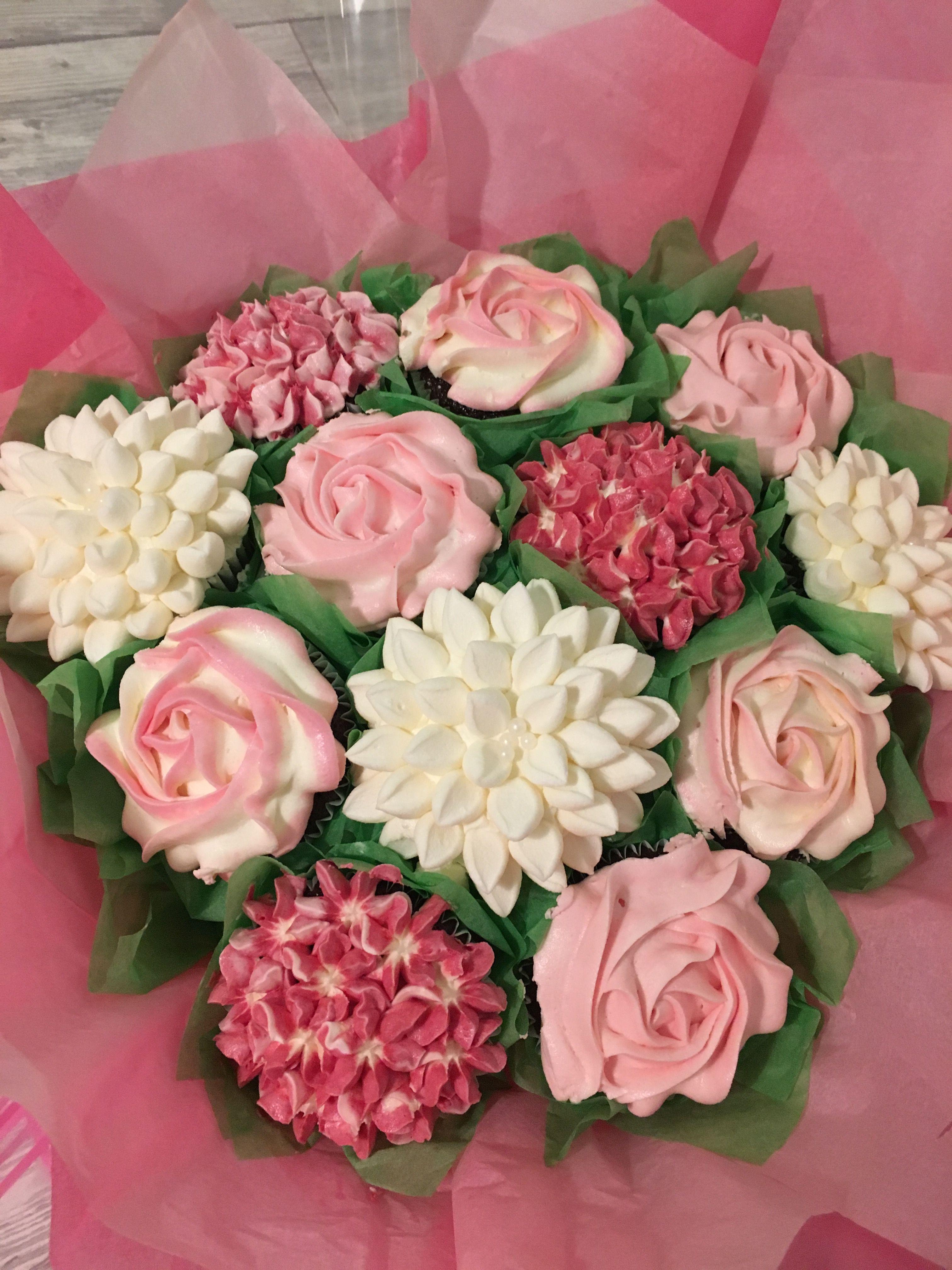 Pink Flower Cupcake Bouquet Cupcakes Pinterest Flower Cupcakes