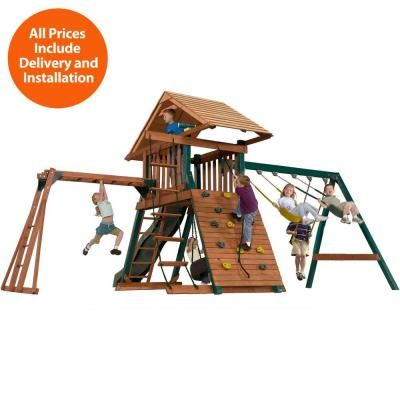 Swing N Slide Installed Sky Mountain Deluxe Wood Playset 6019 The
