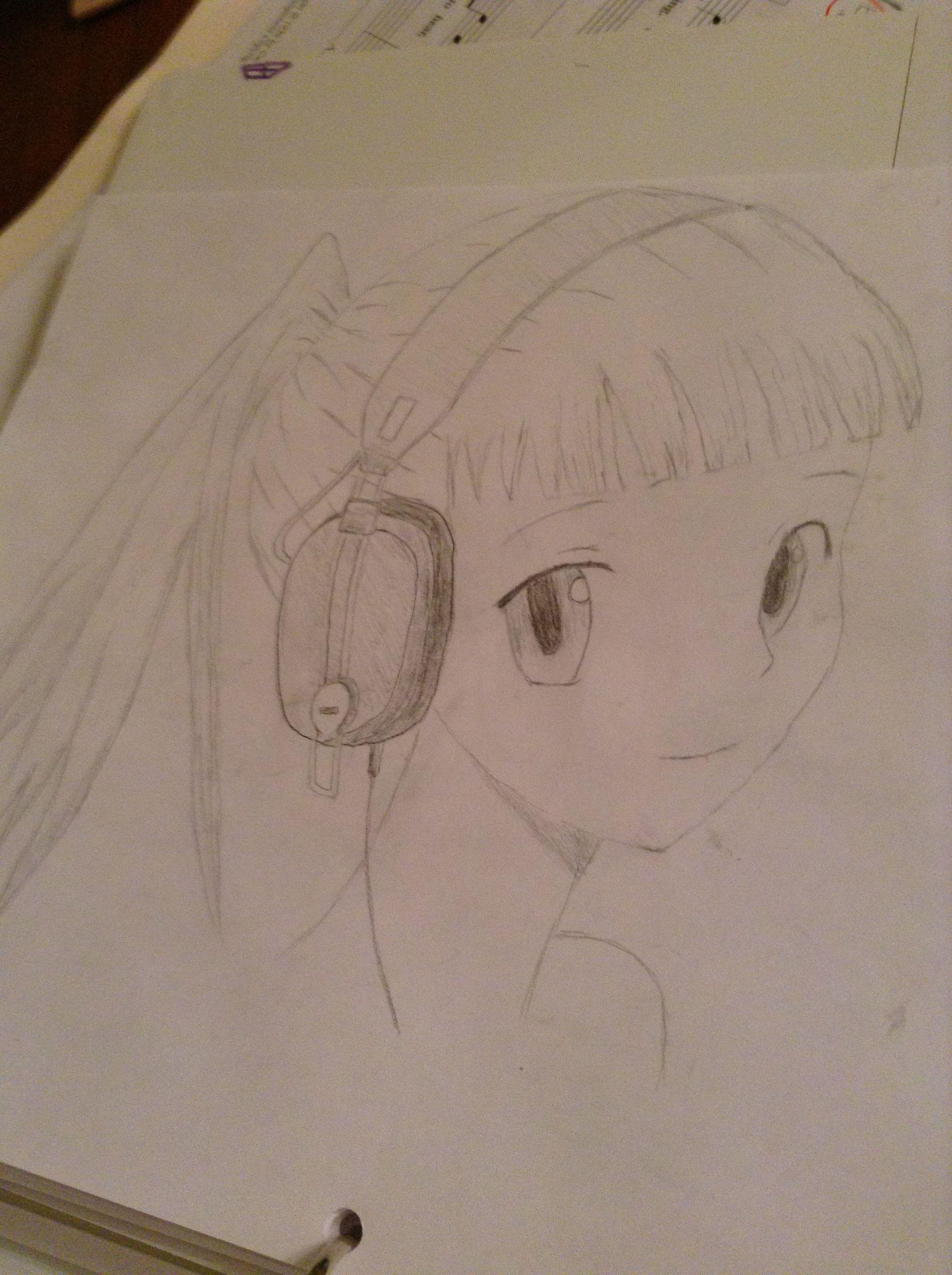 Cute anime girl with headphones