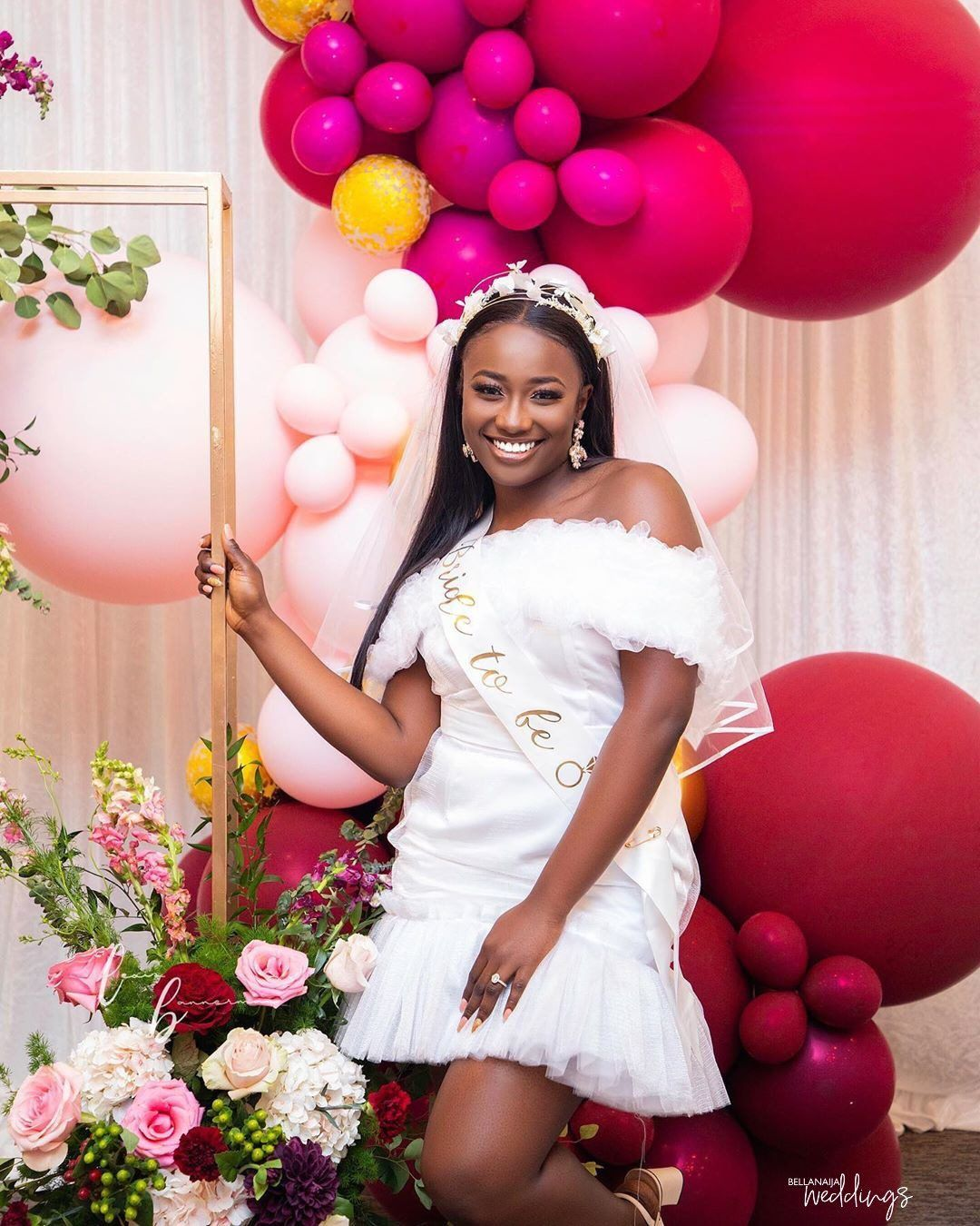 Bridget S Surprise Bridal Shower Was All Shades Of Sweet In 2020 Bridal Shower Bride Outfit Nigerian Bridal Shower Bridal Shower Dress