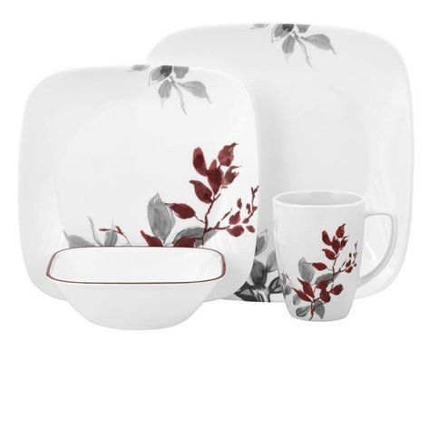 Corelle 16-Piece Vitrelle Glass Kyoto Leaves Chip and Break Resistant Dinner Set Service for 4 Red/ Grey  sc 1 st  Pinterest & Corelle Kyoto Leaves Square 16pc Dinner Set by World Kitchen ...