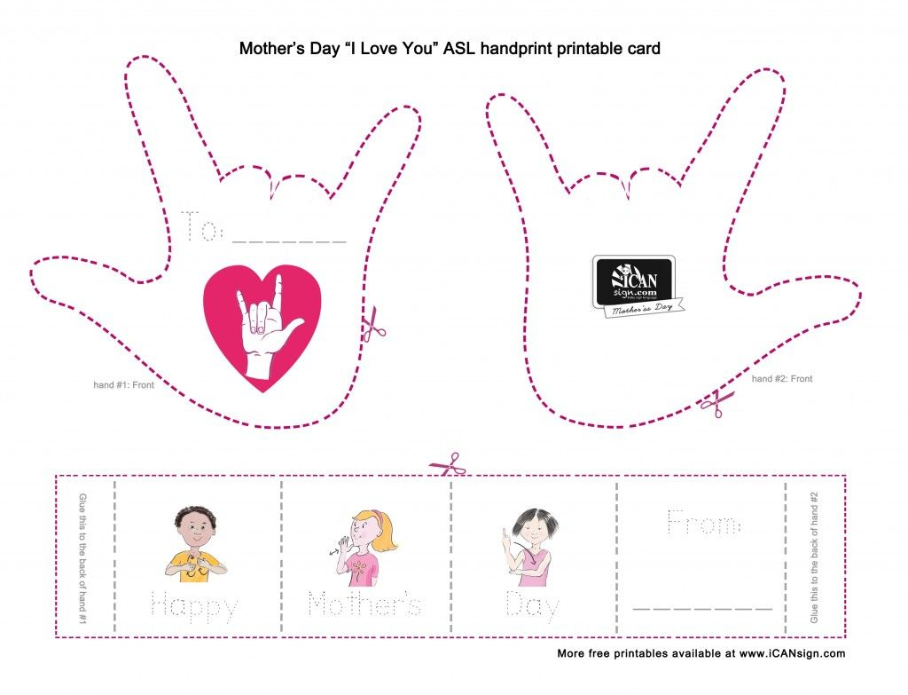 mother 39 s day printables with american sign language this accordion style mother 39 s day card is. Black Bedroom Furniture Sets. Home Design Ideas