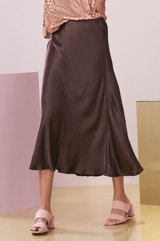 96ded4f2026d Womens Next Chocolate Satin Midi Skirt - Brown   Dream wardrobe in ...