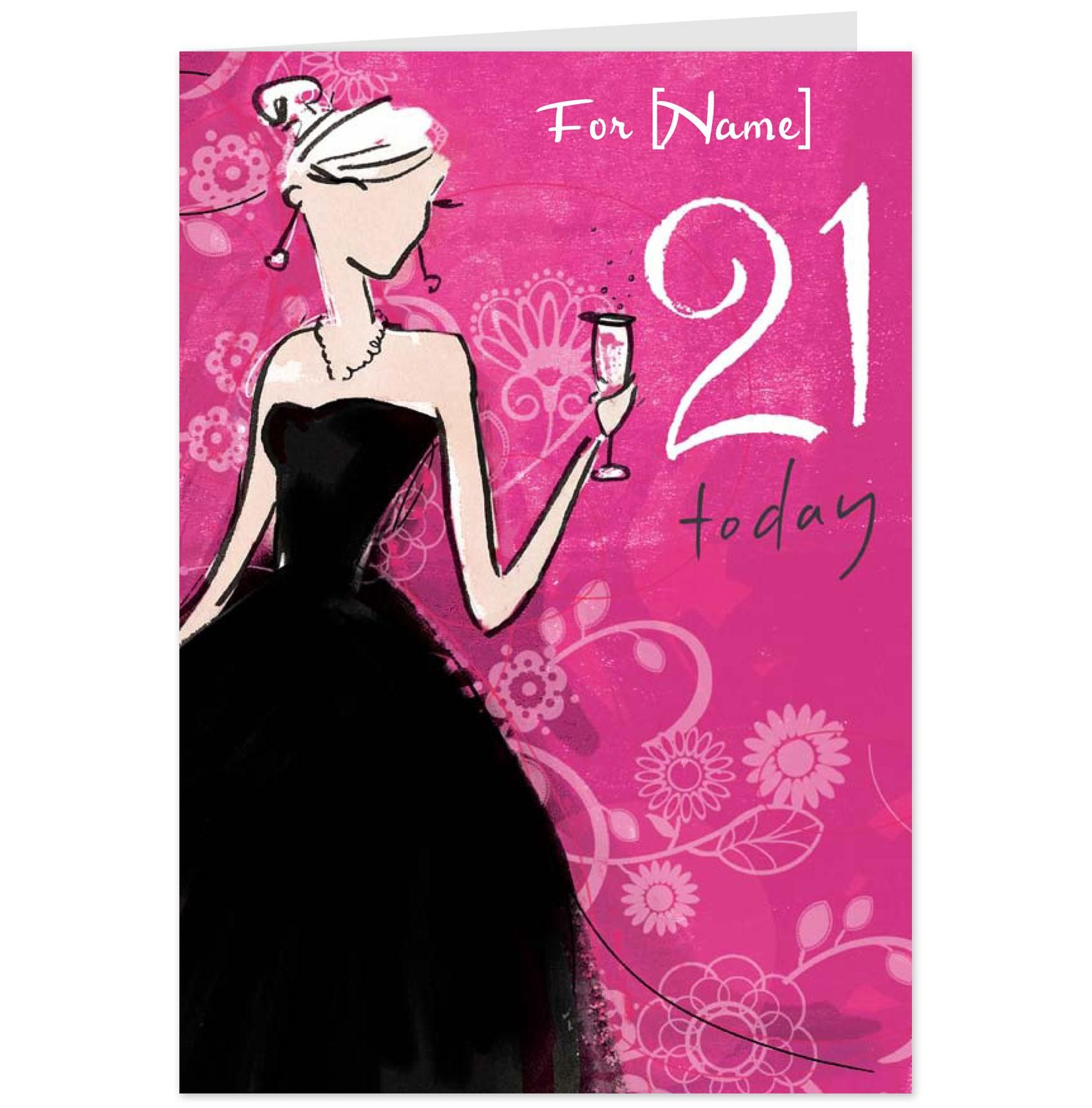 21st Birthday Ecard create invitations online to print free – Happy 21st Birthday Cards to Print