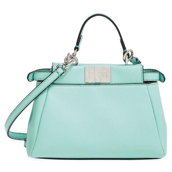 Women's Fendi 'Micro Peekaboo' Nappa Leather Bag (52,605 THB) ❤ liked on Polyvore featuring bags, handbags, fendi, turquoise, hardware bag, summer bags, fendi bags and green handbags