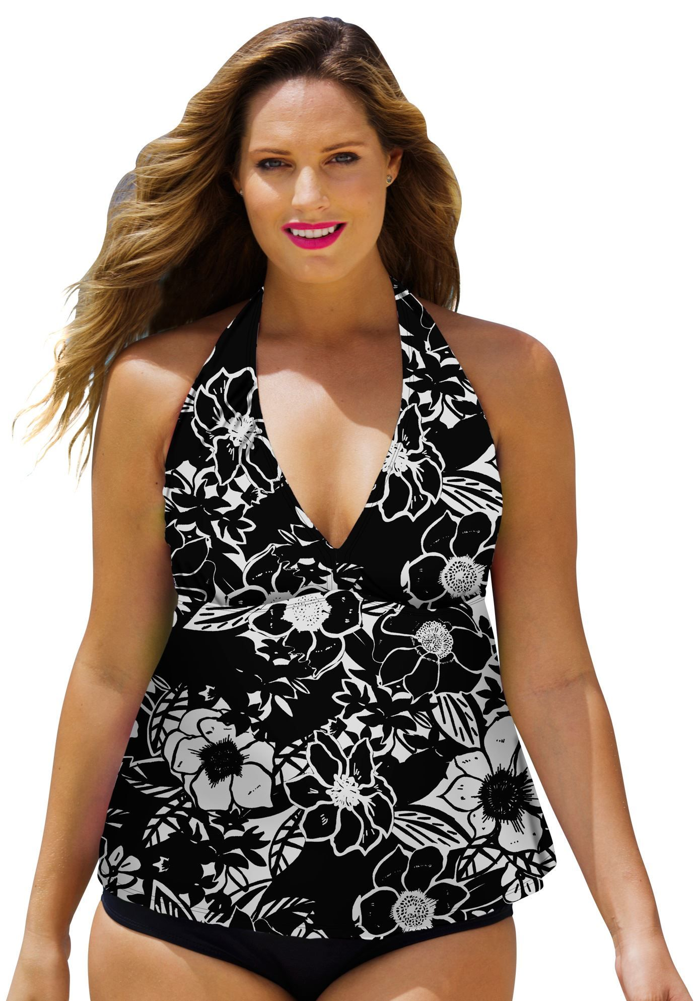 afb535af43a Plus Size Beachwood Plus Size Halter Tankini Top | I Want - Old ...
