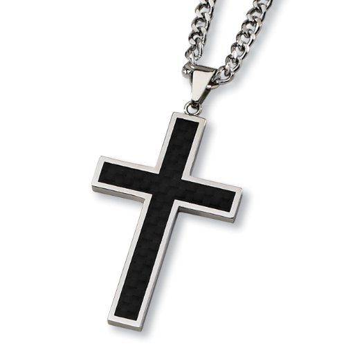 Crucible Black Plated Stainless Steel Cubic Zirconia Cross Pendant 24/""