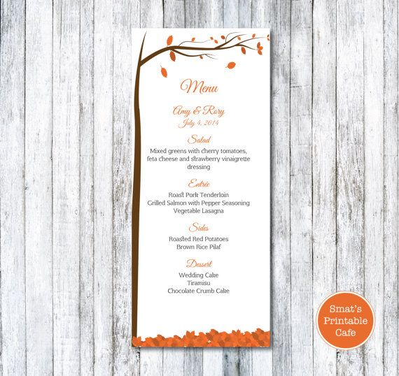 Autumn Leaves Wedding Menu Template DIY Printable - Fall Wedding - microsoft word menu templates