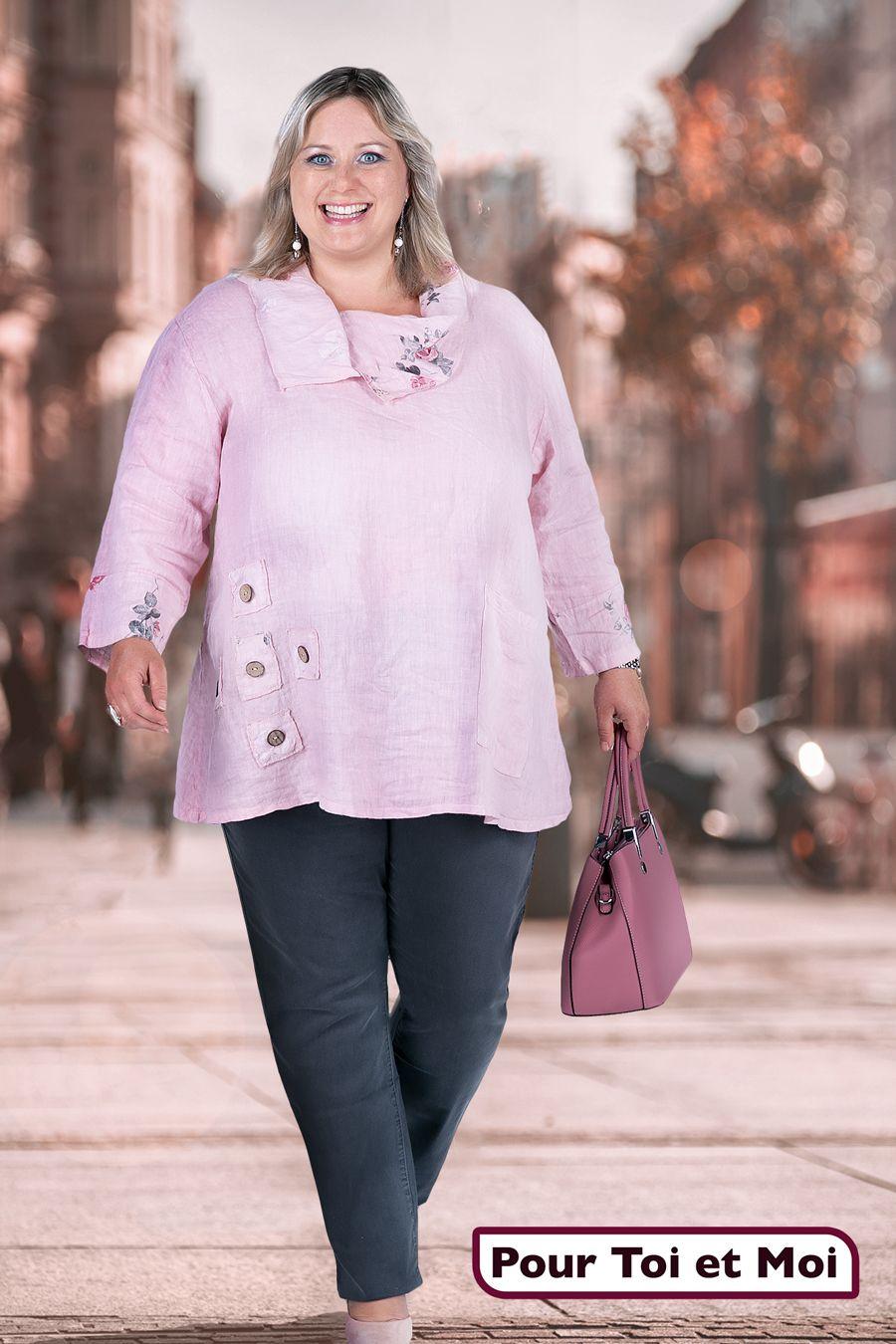 Neuf Grande Taille élégant femmes Long Shirt Rouge Avec Argent Colorée Accessoires Taille 62