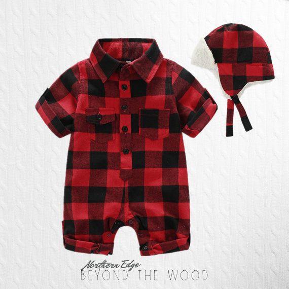 Plaid baby romper, lumberjack baby, canadian baby, cute ...