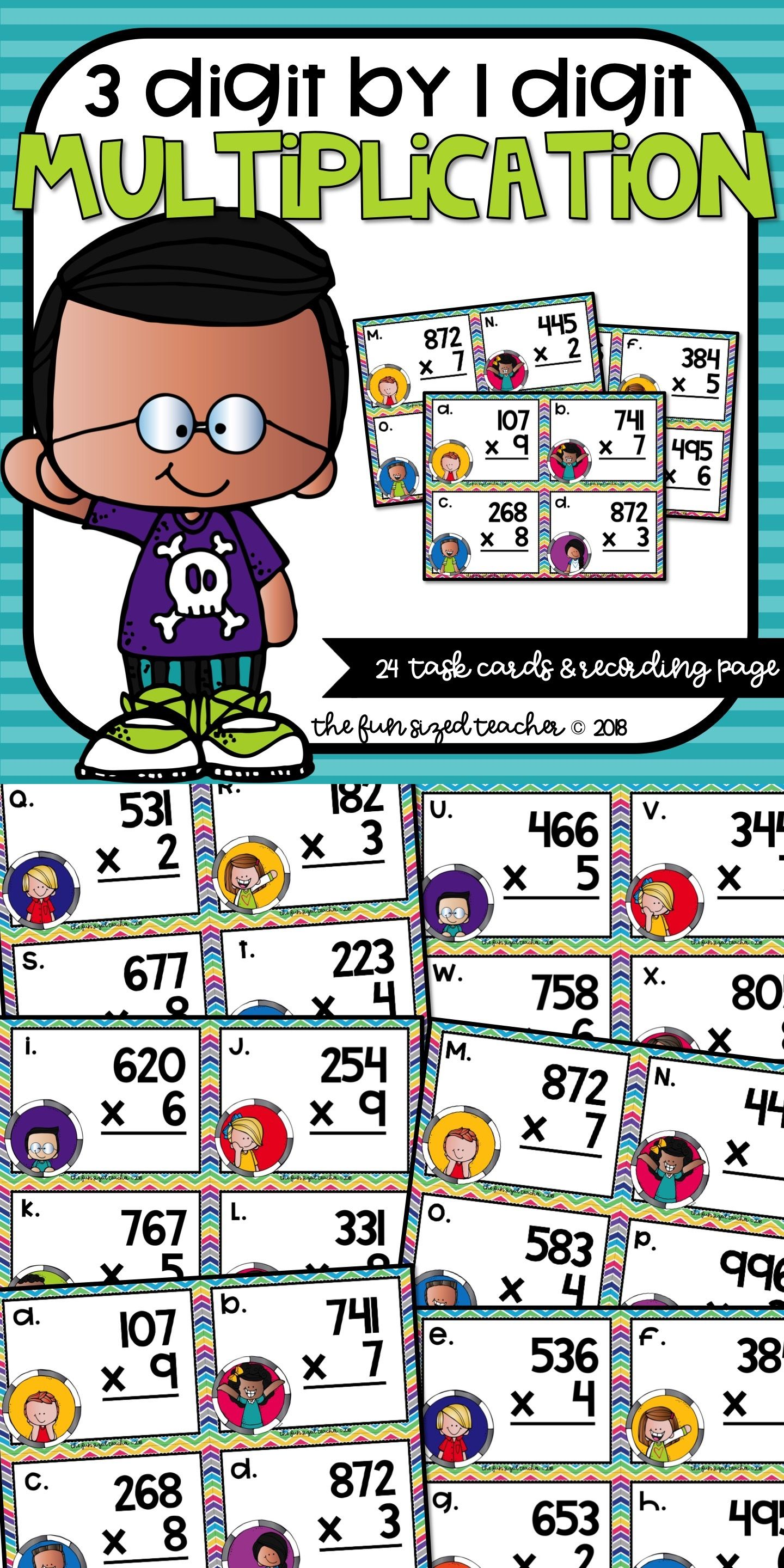 3 Digit By 1 Digit Multiplication Task Cards