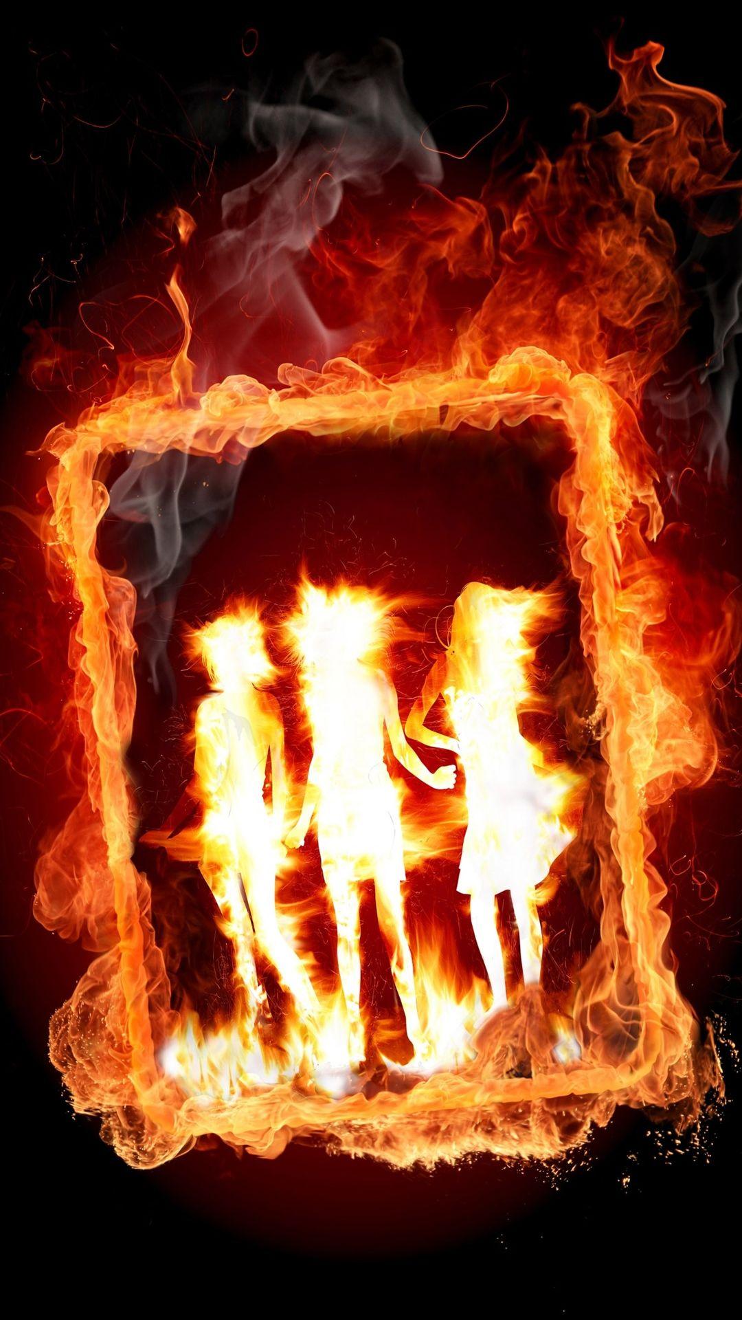 Tap And Get The Free App Art Burning Girls Orange Black Fire