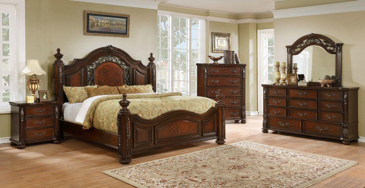 Warm Cognac Isabella 1411 King Bedroom Set 4pcs Bernards Solid Wood Traditional Isabella 1411 Ek Set 4 Traditional Bedroom Sets King Bedroom Sets Wooden Bedroom