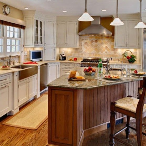 Off White L Shaped Kitchen Design With Island: L Shaped Kitchen Island Ideas
