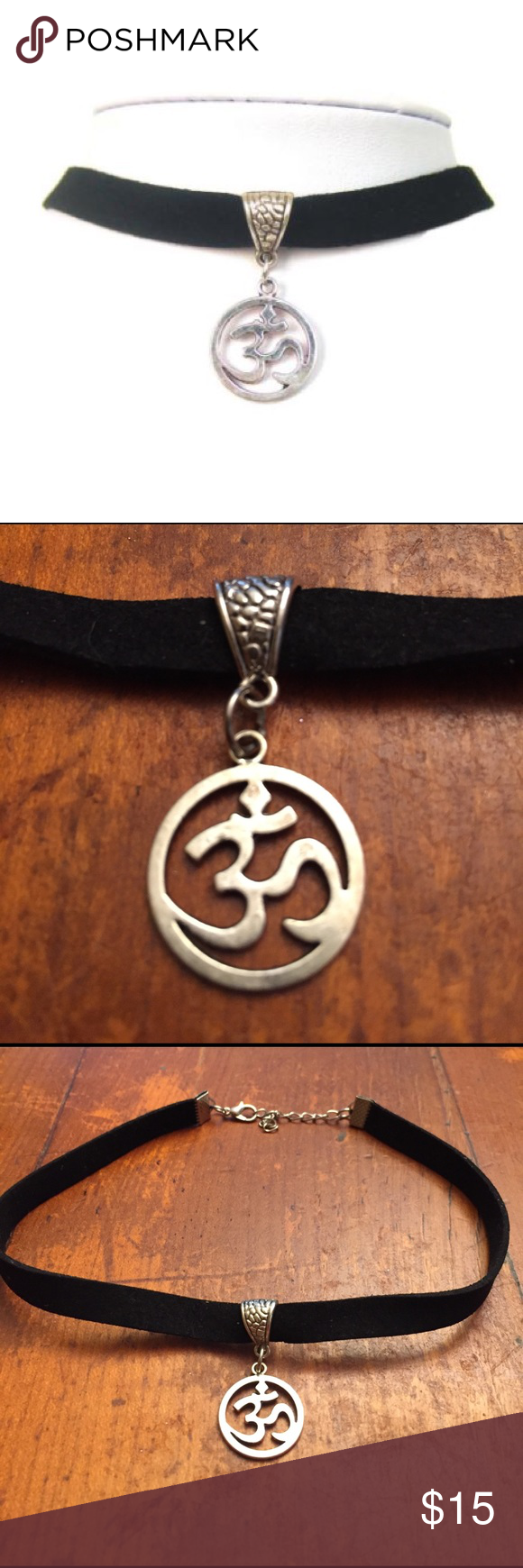 """Hipster Ohm Pendant Choker Necklace Hipster Ohm Pendant Choker Necklace! Ohm Yoga symbol charm choker on faux suede cord. Pendant size about 0.75"""" Jewelry Necklaces"""