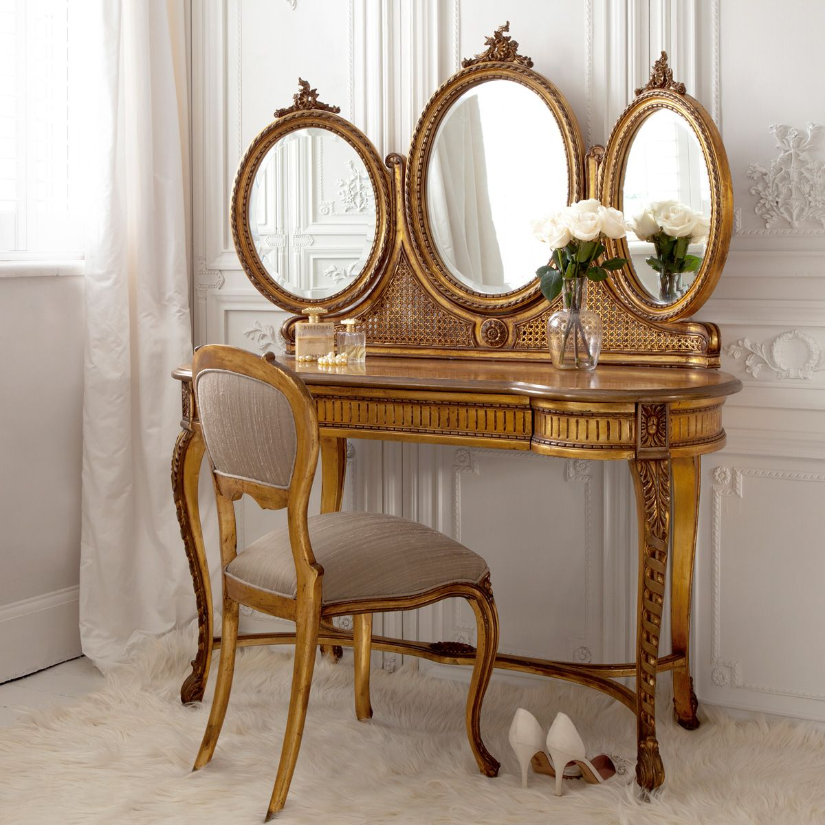 Elegant Versailles Gold French Dressing Table (Image By The French Bedroom Company