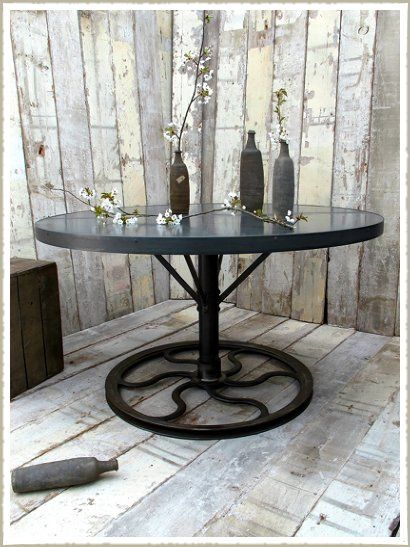 Large Round Industrial Wheel table | Dining table, Zinc ...