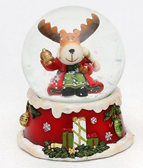 Goldige Musical Snow Globe ? Christmas Moose Christmas Decs - moose christmas decorations