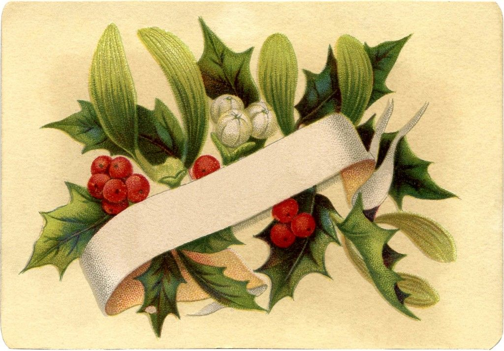 Gorgeous Christmas Holly Label! - The Graphics Fairy