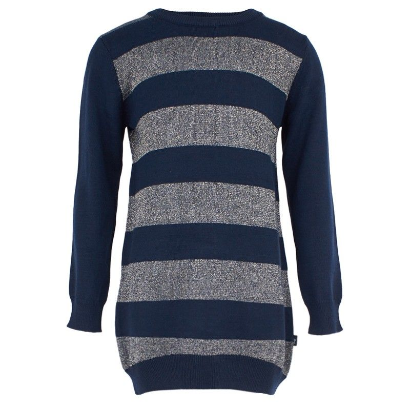 9bba27c54378 Navy jumper dress from Molo. A long-sleeve style highlighted by shimmering  gold-