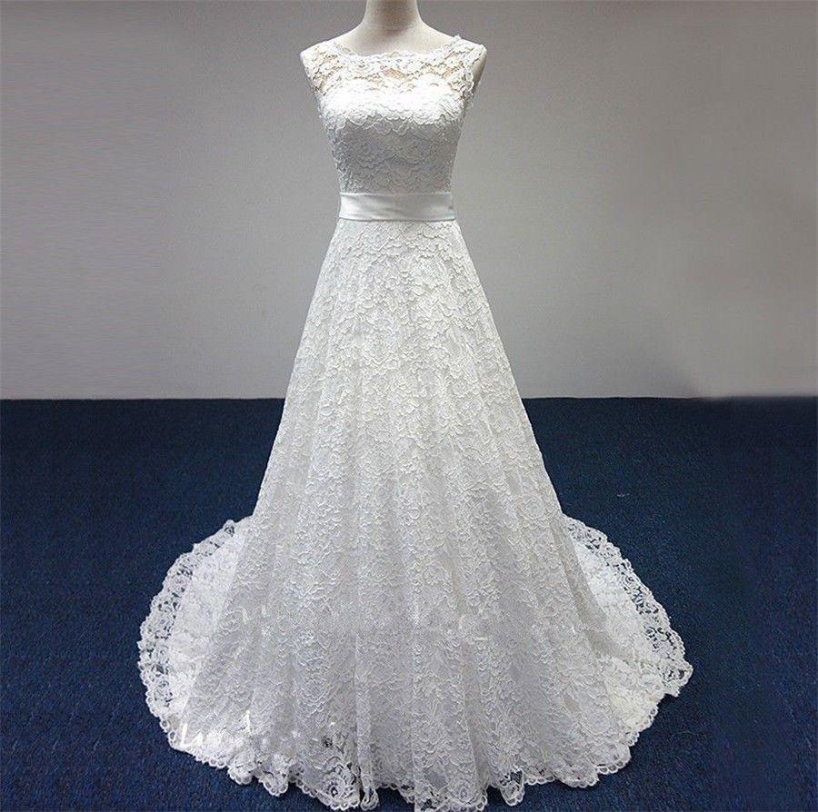 Ivorywhite lace sleeveless wedding dress aline long bridal gowns