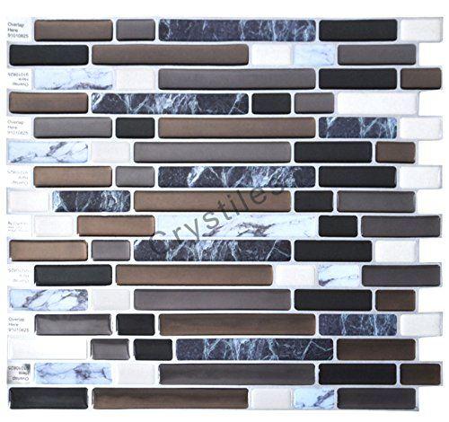 Crystiles Diy Peel Stick Backsplash For Kitchen And: Crystiles Peel And Stick SelfAdhesive Vinyl Wall Tiles